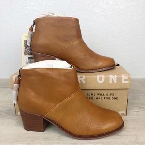 NEW Toms | Leila Warm Tan Leather Booties